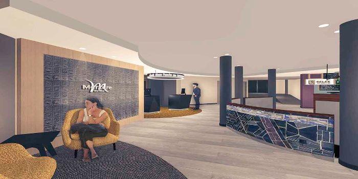 Bild vom Loungebereich des Mercure Hotels mit gemütlichen Sitzgelegenheiten