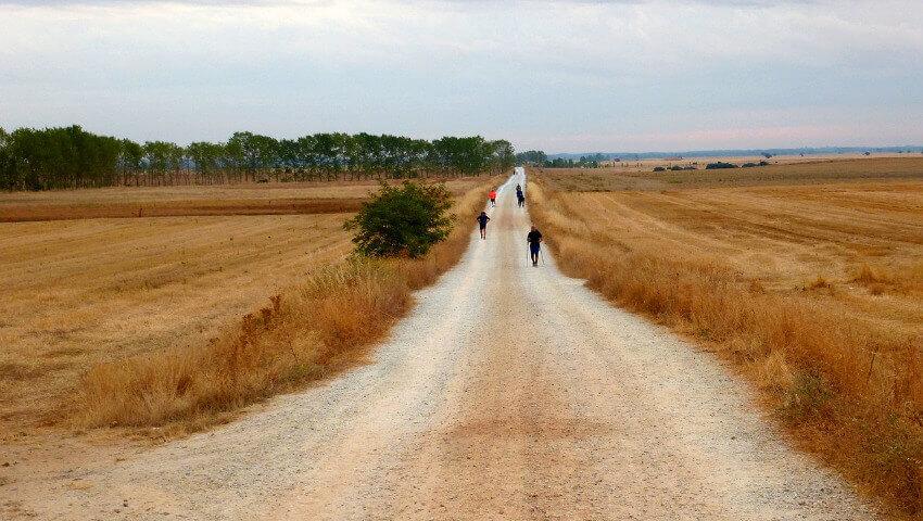 Ewig langer gerader Weg durch die dürre Einöde Spaniens.