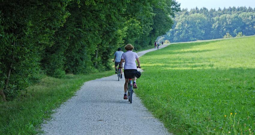 Radfahrer auf einen Radweg, wobei links vom Weg ein Wald ist und rechts eine Wiese.