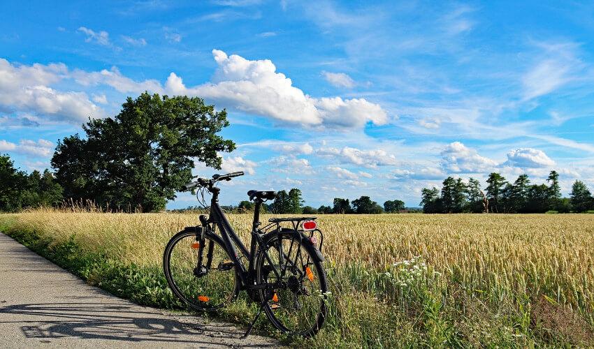 Ein Fahrrad parkt an der Seite eines Weges neben einem Feld um eine Pause zu machen.